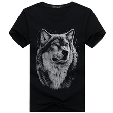 Cotton 3d t shirt men's 2017 summer Hip Hop style new Printed funny wolf male T-shirts plus 5XL black men casual slim tops tees(China)