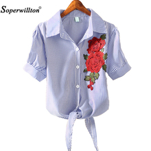 New Tops 2017 Kimono Pinstripe Hem Women Blouse Short Puff Sleeve Blue Striped Shirt Blusas Embroidered Appliques Blouse Top Hot(China)
