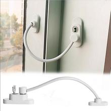 19*6.5*4cm Lockable Window Security Cable Lock Door Safety Restrictor Child Room Window And Door Security Restrictor with Key(China)