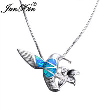 JUNXIN Women Fashion Blue Fire Opal Bird with Flower Pendants & Necklaces 925 Sterling Silver Filled White CZ Animal Necklace