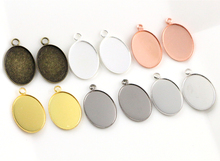 Buy 20pcs 13x18mm Inner Size 6 Colors Plated Brass Cameo Cabochon Base Setting Charms Tray Pendant necklace findings for $1.99 in AliExpress store