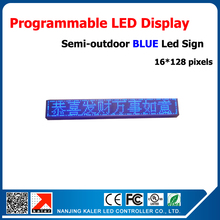 Semi-outdoor led display blue p10 led display sign 24*136cm led sign board easy operation software blue advertising led sign(China)