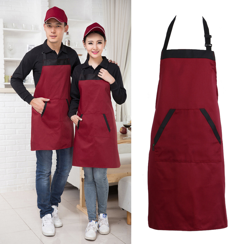 Black-Red-Unisex-Chef-Cooking-Kitchen-Catering-Halterneck-Apron-Bib-With-2-Pocket-One-Size-in
