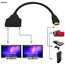 Kebidu New 1 to 2 HDMI Splitter Adapter Male to Female Split Double Signal Adapter Convert Cables for Video TV HDTV(China)