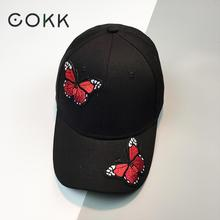 COKK Butterfly Women Cap Lady Black Snapback Dad Hat Sunhat Casual 6 Panel Baseball Cap Female Sport Sun Visor 2017 New Summer