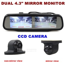 DIYKIT Dual Screen 4.3 inch TFT LCD Rear View Car Mirror Monitor + HD CCD Car Rear View Camera for Rear/ Front / Side View