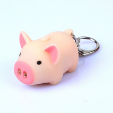 cute pig led keychains flashlight sound rings Creative kids toys pig cartoon sound light keychains child gift 3 colors(China)