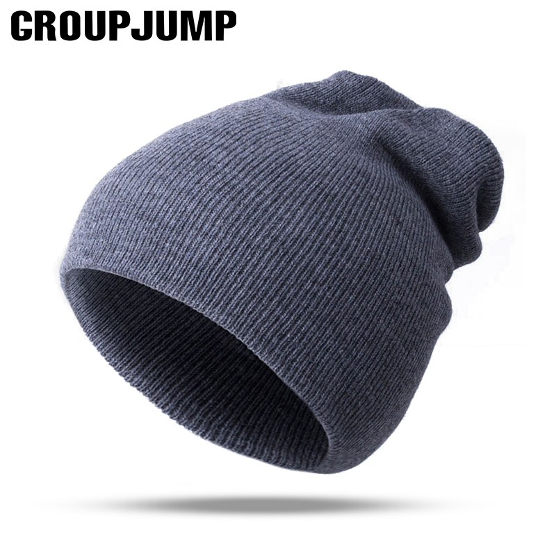 HYID Winter Hats for Mens Beanies Knitted Wool Solid Color Bone Double Layer Gorro Keep Warm Autumn hat Men caps