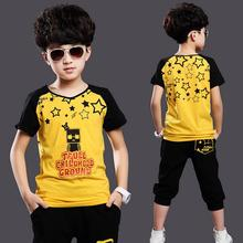 [Bosudhsou] new Summer children clothing set baby boy's set short O-neck t shirt sets kid suit baby set for 5-15 years old M-3