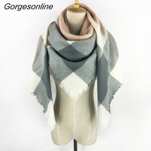 2017 New Arrival Za Design High Quality Acrylic Plaid Blanket Scarf Women Wrap Shawl Square Tartan Poncho Stoles 140x140 CM(China)