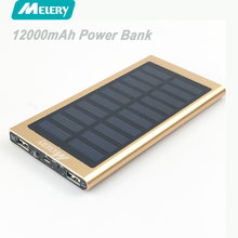 Melery Solar Power Bank Daul USB 12000mAh External Battery Portable Charger Bateria Externa Pack LED Screen and Flashlight(China)