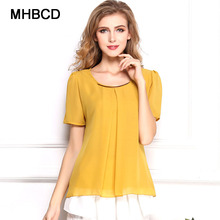 MHBCD Women Summer Sequined Chiffon Blouses Shirt Fashion Solid O Neck Plus Size Blusa Ukraine Business Office Clothes