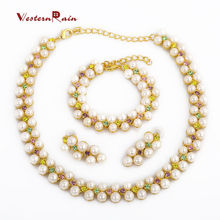 WesternRain 2017 Fashion Elegant Women Gold Pearl Pendant Perfect Jewelry Necklace Set For Women Accessories Jewelry A123