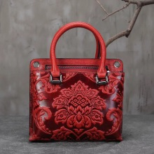 Vintage Embossing Flower Designer Ladies Small Totes Beige Handbag Genuine Leather Elegant Women's Cross Shoulder Red Floral Bag(China)