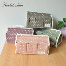 Cotton Fabric Tissue Boxes Pumping Box Napkin Box Floral Seat Type Cosmetic Foldable 6 pocket Organiser Storage Bag LW0341(China)