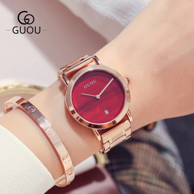 GUOU Top Brand Luxury Ladies Watches simple style Fashion double pin with calendar Watch Women Full steel quartz Watch Relogio<br>