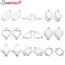 LOULEUR 20pcs Stainless Steel Hollow Oval Square Heart Charms Pendants Connectors Blanks Stamping for Bracelet Jewelry Making(China)