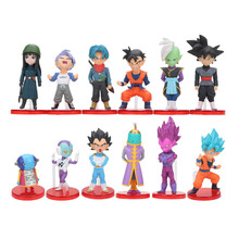 12pcs/set Dragon Ball Z Super Saiyan Vegeta Gohan Trunks Zeno Jaco Mai Zamasu Blue Black Goku Action Figure Toy Set(China)