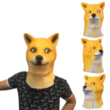 HOT Animal Head Full Face Mask Halloween Party Festival Cospaly Costume Supplies Mask  Dog Head Mask Toys Orange Breathbale