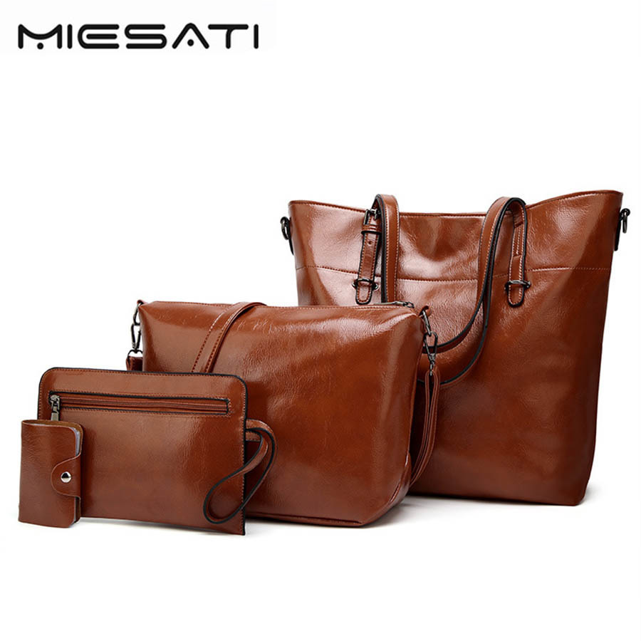 MIESATI 2017 PU Leather Women 4pcs Set Bags female Purse Leisure Tote Sac Messenger for Ladies Handbag Crossbody bag Handbags<br>