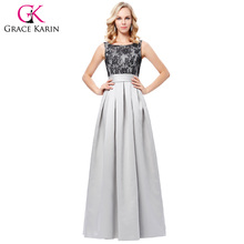 Grace Karin Full Length Evening Dresses 2017 Long Grey Satin Ball Gown Black Lace Evening Dress Women Scoop Neck Formal Dress(Hong Kong)