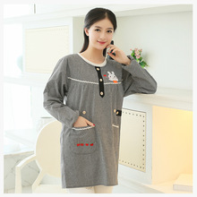 Korean Cute Rabbit pattern kitchen Apron Cotton Long Sleeves Aprons Adult Coffee Shop Cleaning Aprons For Woman Delantal Cocina