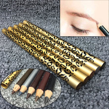 Brown/Black/Light Coffee/Dark Coffee/Gray Eyebrow Pencil Two Sides With Brush Leopard Design Metal Casing  H7JP