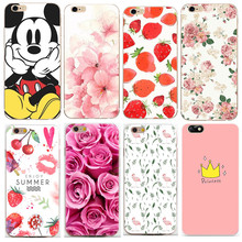 Peach blossom Strawberry Rose King Thin Silicon Phone Bags For iphone 7 case Soft Cover Case For iphone 6 6S 5 5S SE Skin Shell