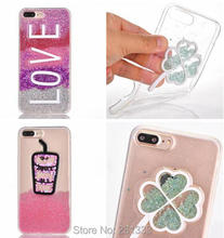 Liquid Quicksand Glitter Soft TPU Case For Iphone 7 Plus I7 7PLUS 6 6S I6 Lollipop Ice Cream Love Dynamic Cover Skin Luxury 1pcs