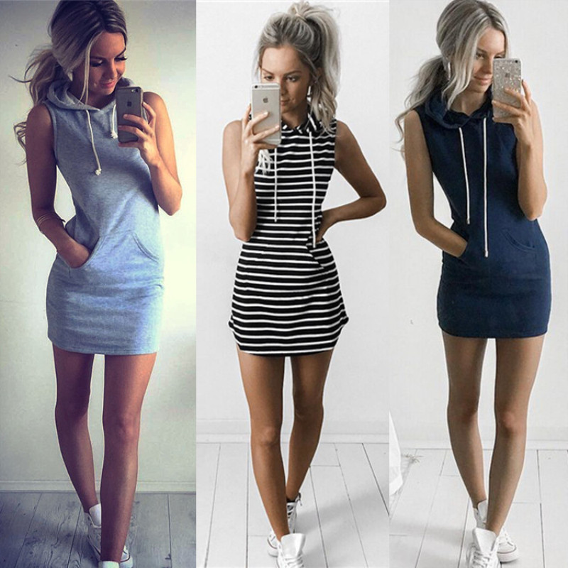 Oufisun Summer Casual Sweatshirt Sleeveless 2019 Women Clothing Hooded Drawstring Collar Pocket Simple Party Mini Tank Dress