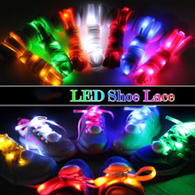 Novely Light Colourful 1 Pair New LED Shoelaces Luminous Flashing Shoe Laces Disco Party Light Up Glow Nylon Strap