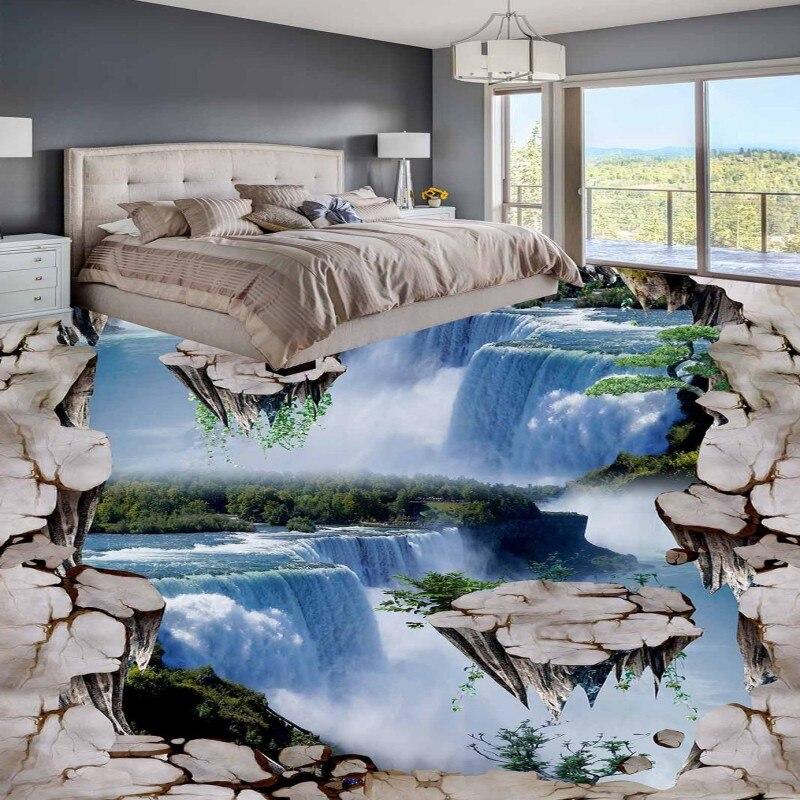 Free shipping custom flooring 3d bathroom living room wallpaper Suspended mountain waterfall floor waterproof thickened mural<br>