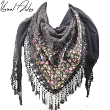 Allen Xu Design Latest Style Floral Printed Scarf Lace Triangle Fringe Scarf Women 2017