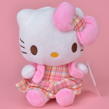 Plaid Skirt Hello Kitty Plush Toy, 20cm Baby Gift, Kids Doll Wholesale with Free Shipping(China)
