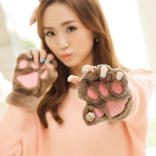 Warm Girls Bear's Paw Mitten Furry Fuzzy Thicking Half Finger Gloves Mitts Cute
