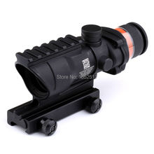 2017 Black&tan color Tactical Good acog style 4x32 rifle scope red dot Red Optical fiber 20mm Rail