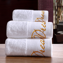 "Cozzy White Plush Cotton Towel Set for Bathroom Hotel Beach Spa 3-piece (2 Bath Towels 1 Hand Towel) Gold ""Dream"" Embroidery(China)"