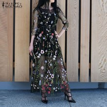 Buy ZANZEA Women Dress 2017 Summer Sexy Vintage Embroidery Floral Mesh Patchwork Maxi Long Dresses Casual Loose Vestidos Plus Size for $16.95 in AliExpress store