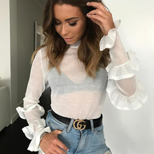 KOKKIRI 2018 New Style Women Sexy Skinny White Ruffles Blouse Womens Casual Butterfly Sleeve Shirts Ladies Fashion Snug Tops(China)