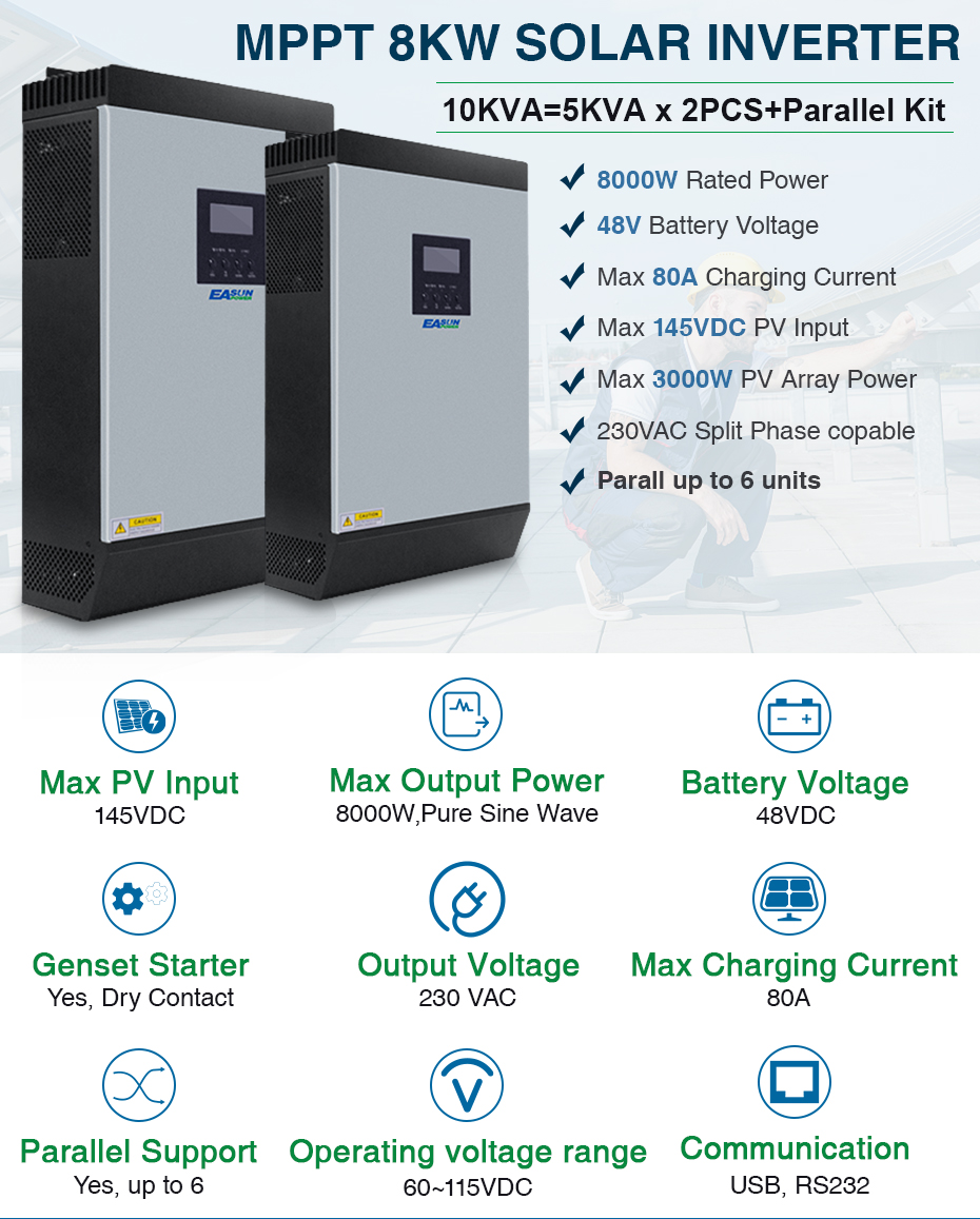 EASUN POWER 8000W Solar Inverter 60A MPPT 10KVA Off Grid Inverter 48V 220V Pure Sine Wave Hybrid Inverter 60A Battery Charger ISolar SML 10K_01