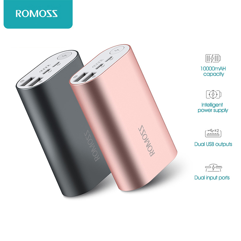 ROMOSS ACE 10000mAh Dual USB Outputs Aluminum Alloy External Battery Pack Power Bank For iPhone 7 7plus Tablets Smartphone(China (Mainland))