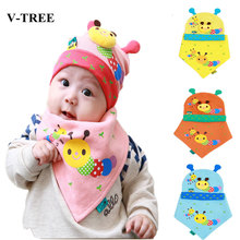 V-TREE Caterpillar modeling baby hats caps newborn crochet cap cotton baby beanies hats triangle towels 2pcs/set baby clothes(China)