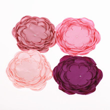 Handmade Large 9 layers burned satin flower Appliques for bride girls headband hair clips accessories DIY flower 480pcs/lot