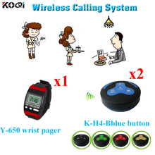 Wireless Call Bell System For Executive Dining Rooms 433.92mhz 1pc Watch Pager 2pcs Table Bell Buzzer