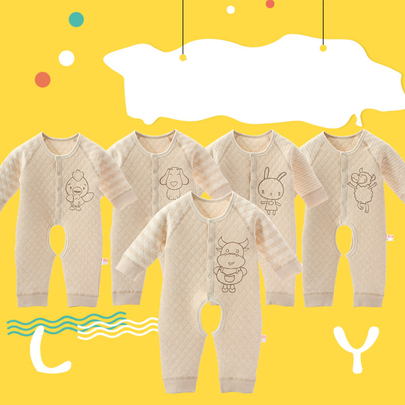 100% Cotton Winter Unisex Baby Rompers Cartoon Animal Clothing Girls Warm Clothes Boys Newborn Infant Jumpsuit nature cotton<br>