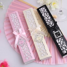 Hot Sale Party Favors Wedding Gifts 100pcs Personalized Luxurious Silk Fold hand Fan in Elegant Laser-Cut / Printing Gift Box