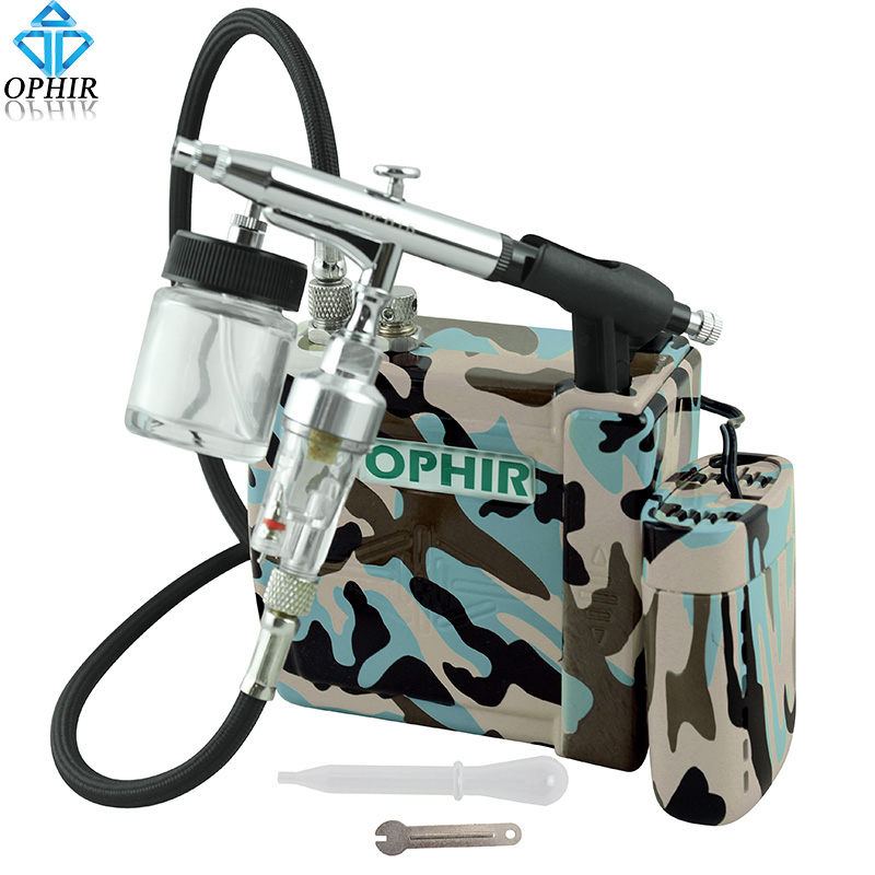OPHIR 0.3mm Dual Action Airbrush Kit with Mini Air Compressor &amp; Battery for Model Hobby Craft Art Paint _AC003BF+005+011+079<br><br>Aliexpress