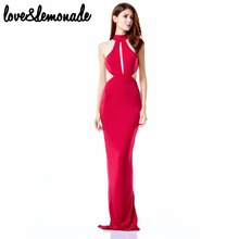 Love&Lemonade  Sexy Cut Out Halter Maxi Dress Red TB 9736