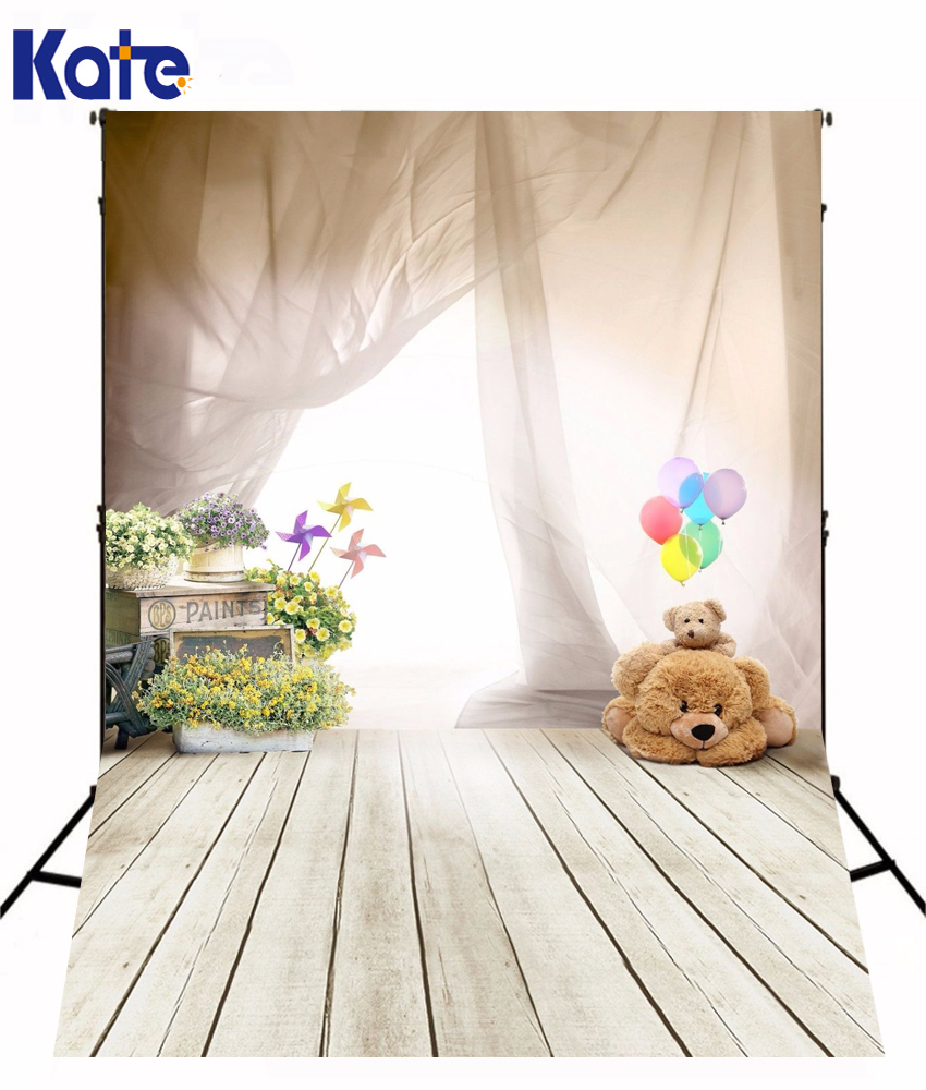 Baby Background Photography Backdrops Wristband Smart Watch Wearable Curtain Wood Floor Backdrops Bear Background Photo Studio <br>
