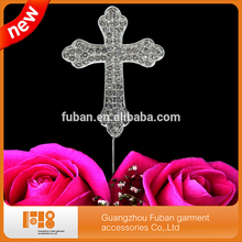 (30 pcs/lot )High quality Christening  decoration  Cross Rhinestone Crystal Cake Topper  For cake decoration ,free shipping